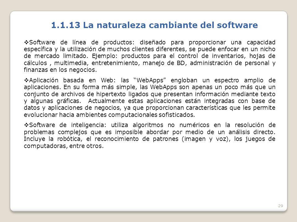 1.1.13 La naturaleza cambiante del software