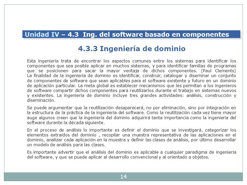 Unidad IV – 4.3 Ing. del software basado en componentes