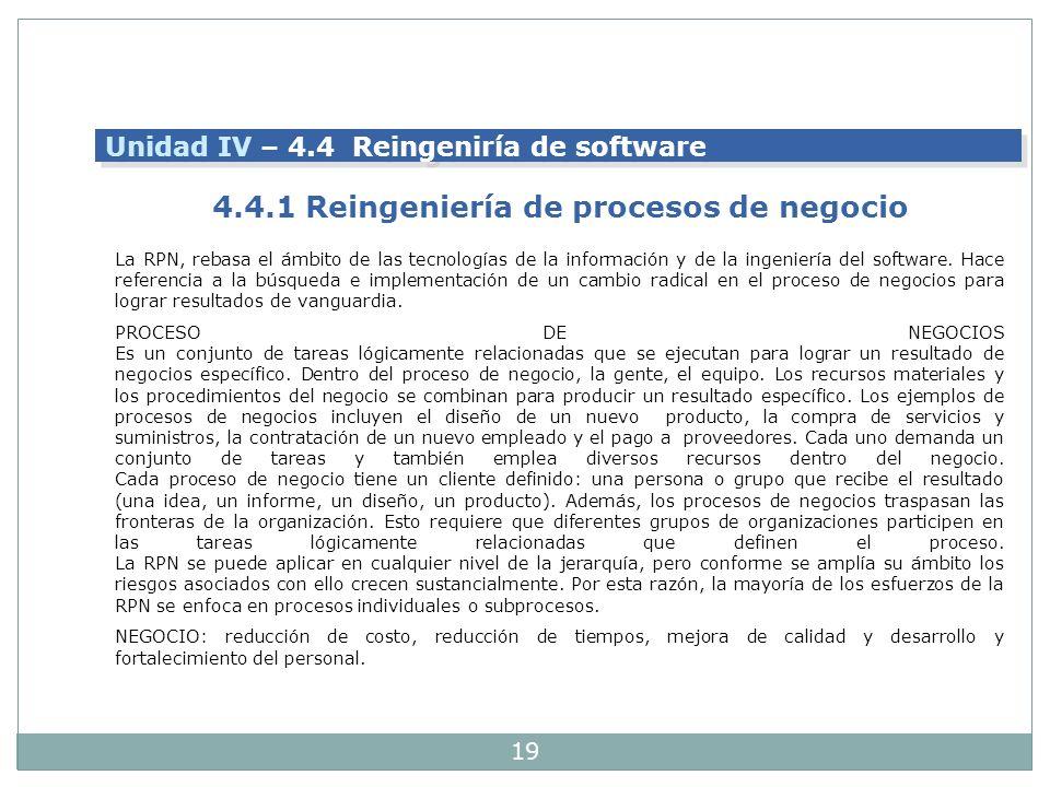 4.4.1 Reingeniería de procesos de negocio