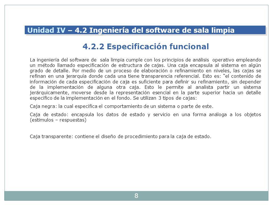 4.2.2 Especificación funcional