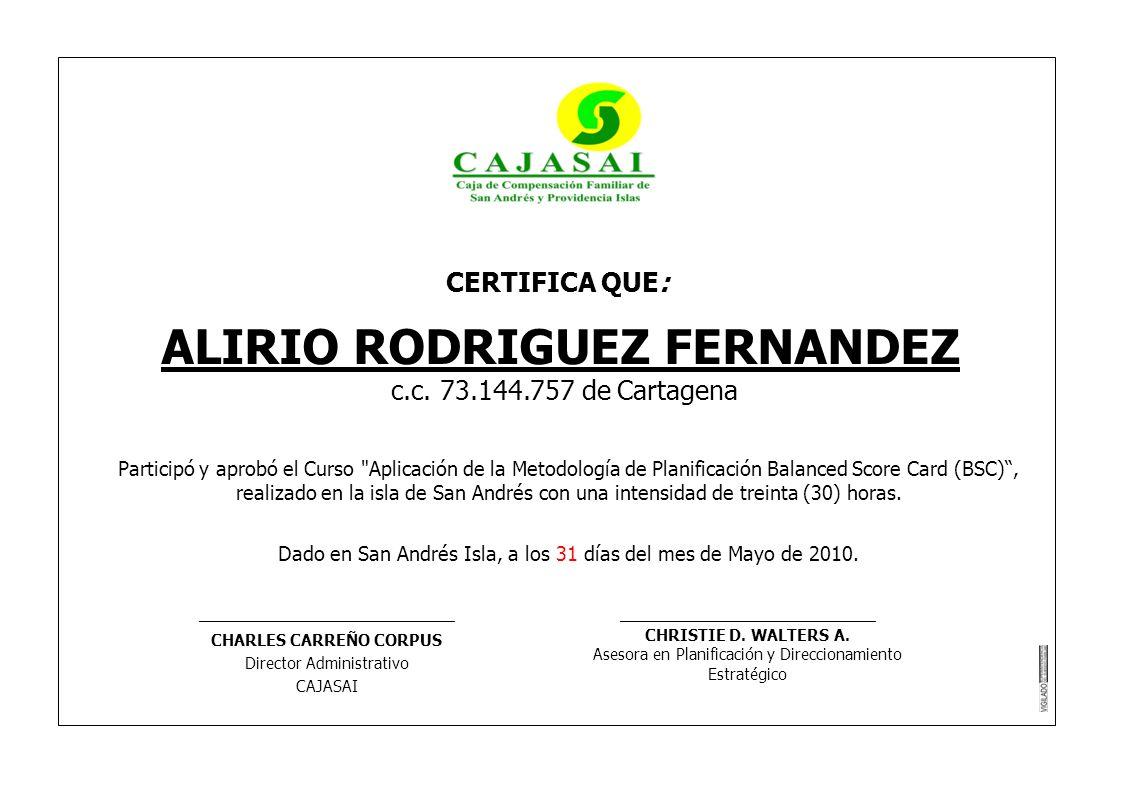 ALIRIO RODRIGUEZ FERNANDEZ CHARLES CARREÑO CORPUS