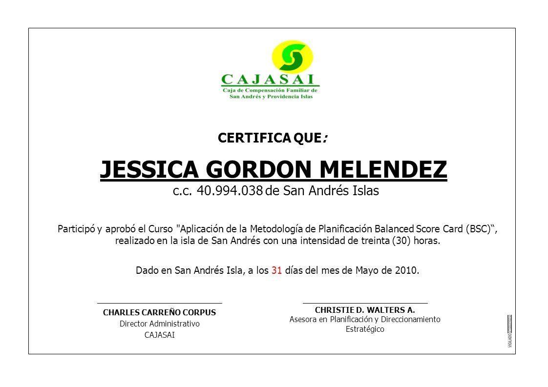 JESSICA GORDON MELENDEZ CHARLES CARREÑO CORPUS