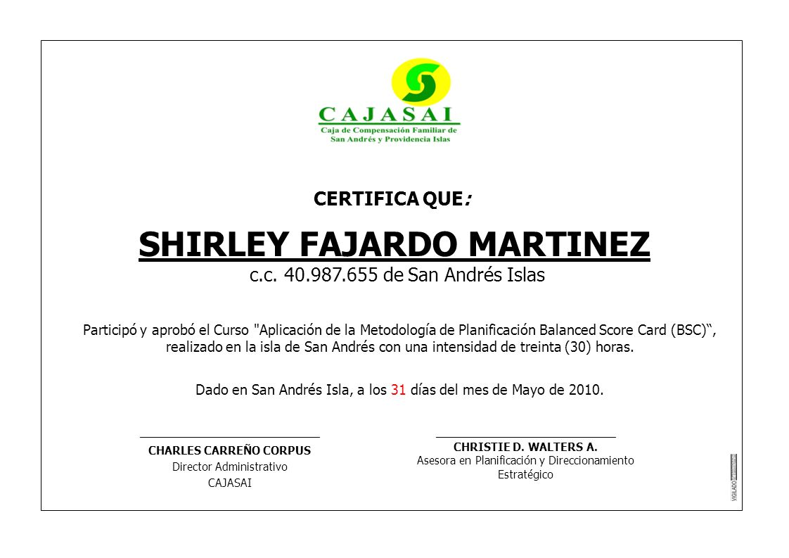 SHIRLEY FAJARDO MARTINEZ CHARLES CARREÑO CORPUS