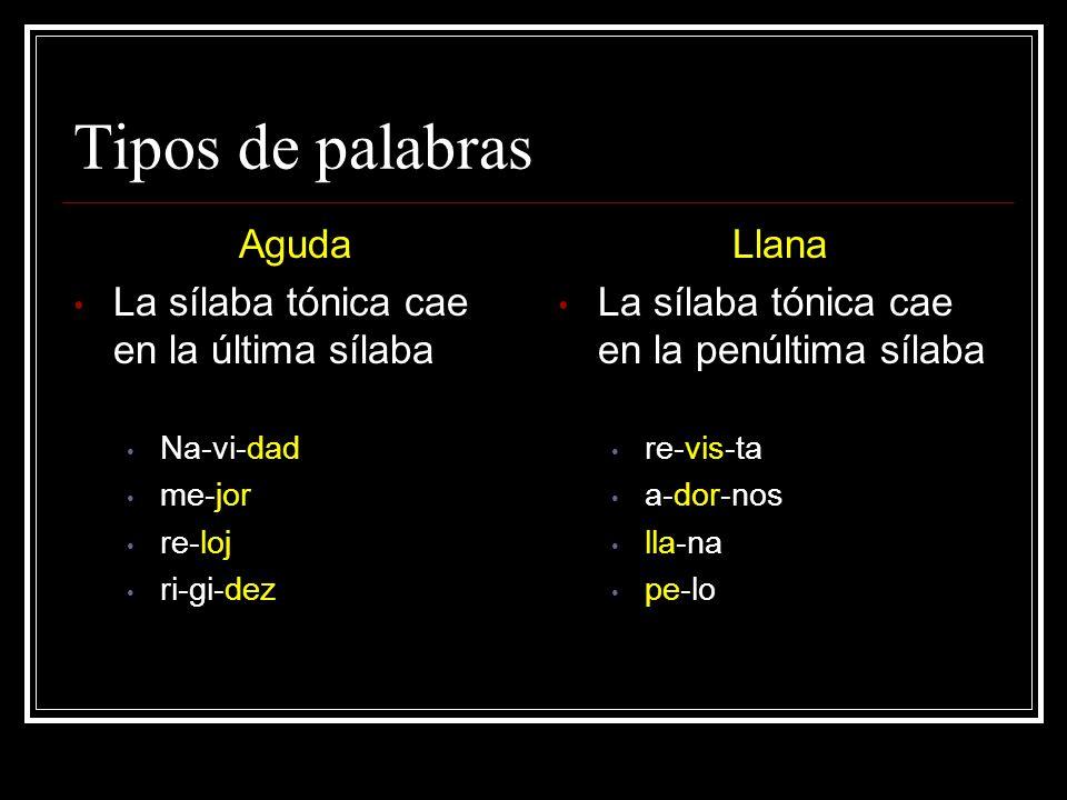 Tipos de palabras Aguda La sílaba tónica cae en la última sílaba Llana