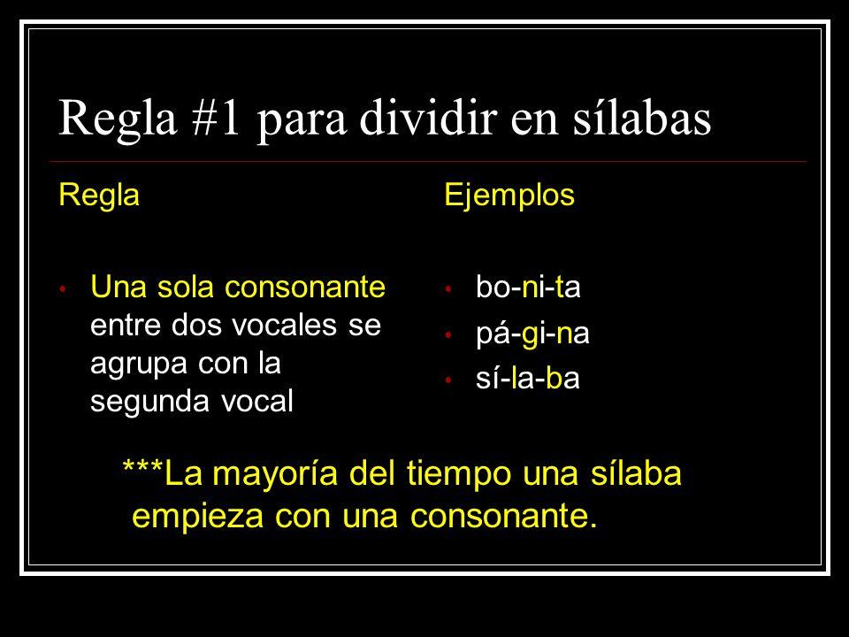 Regla #1 para dividir en sílabas
