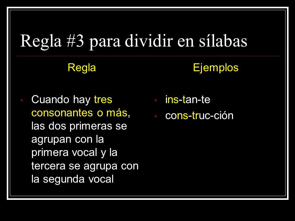 Regla #3 para dividir en sílabas
