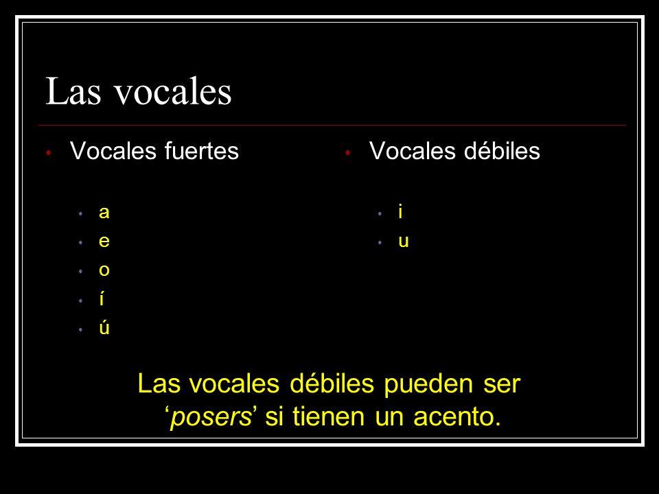 Las vocales Las vocales débiles pueden ser