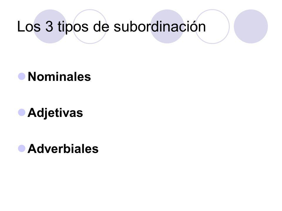 Los 3 tipos de subordinación