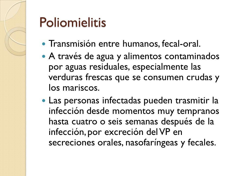 Poliomielitis Transmisión entre humanos, fecal-oral.