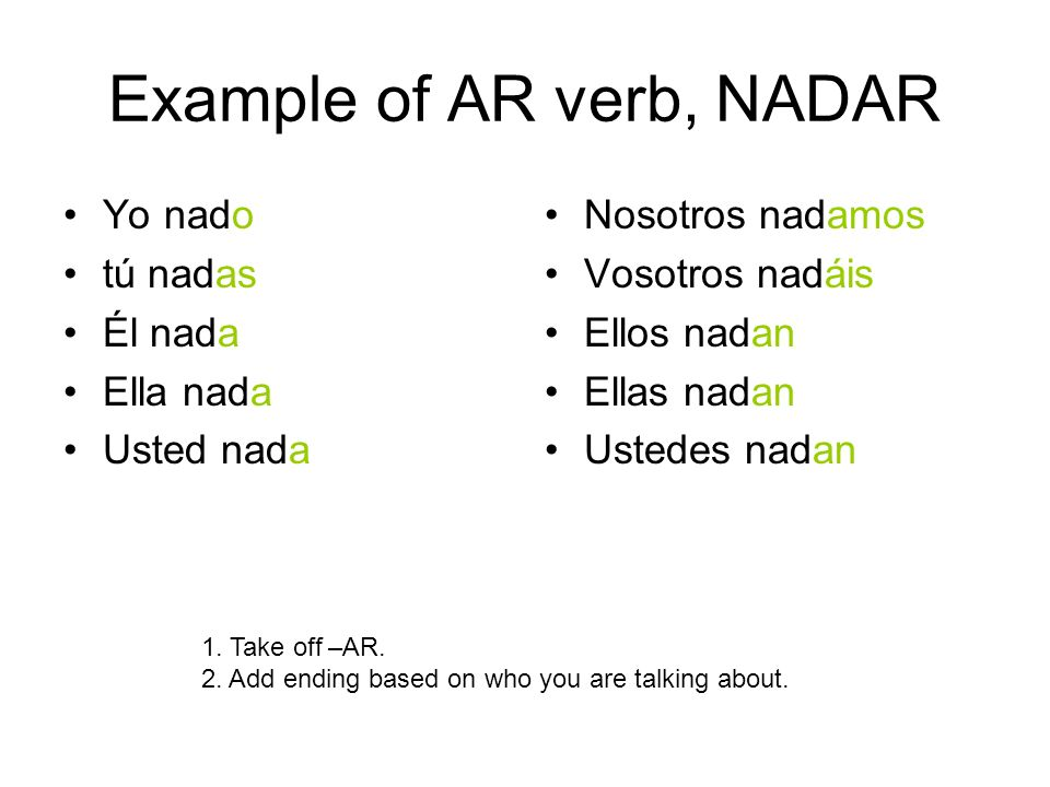 Example of AR verb, NADAR