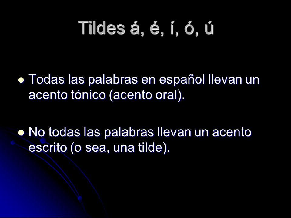 Tildes á, é, í, ó, ú Todas las palabras en español llevan un acento tónico (acento oral).