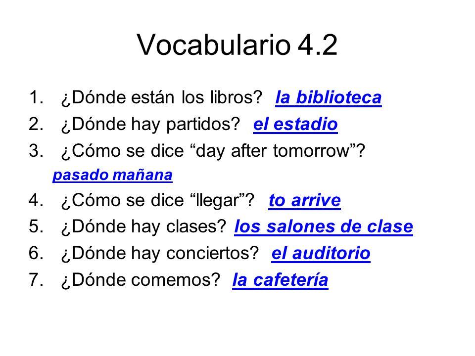 Vocabulario 4.2 ¿Dónde están los libros la biblioteca