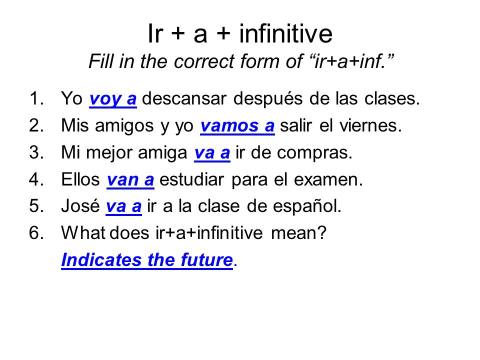 Ir + a + infinitive Fill in the correct form of ir+a+inf.