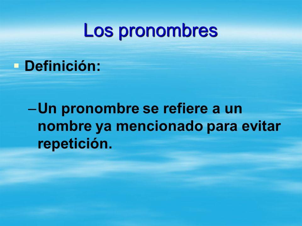 Los pronombres Definición: