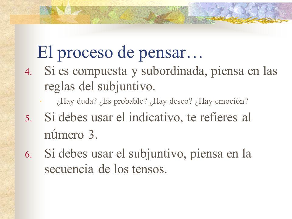 El proceso de pensar… Si es compuesta y subordinada, piensa en las reglas del subjuntivo. ¿Hay duda ¿Es probable ¿Hay deseo ¿Hay emoción