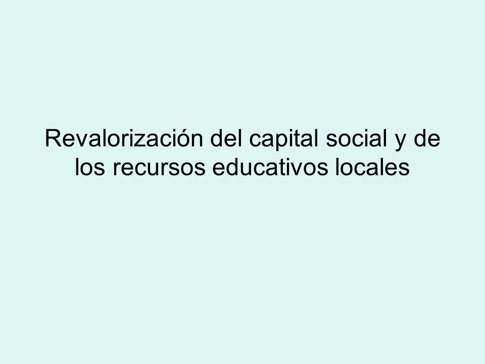 Revalorización del capital social y de los recursos educativos locales