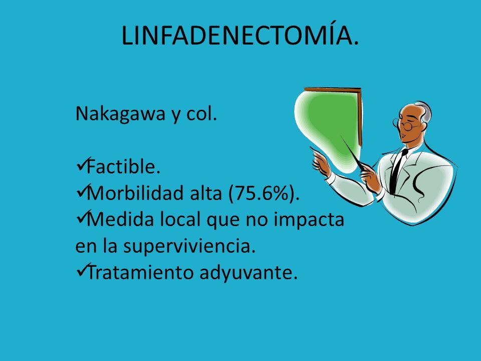 LINFADENECTOMÍA. Nakagawa y col. Factible. Morbilidad alta (75.6%).