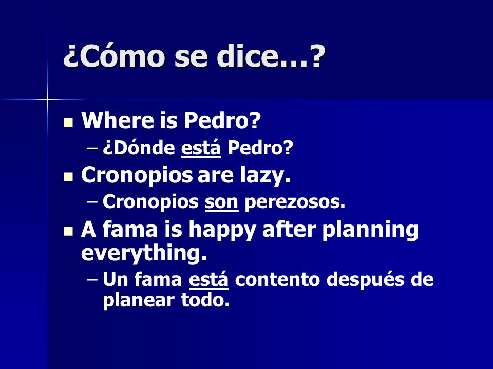 ¿Cómo se dice… Where is Pedro Cronopios are lazy.