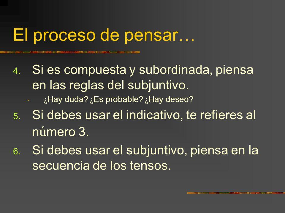 El proceso de pensar… Si es compuesta y subordinada, piensa en las reglas del subjuntivo. ¿Hay duda ¿Es probable ¿Hay deseo