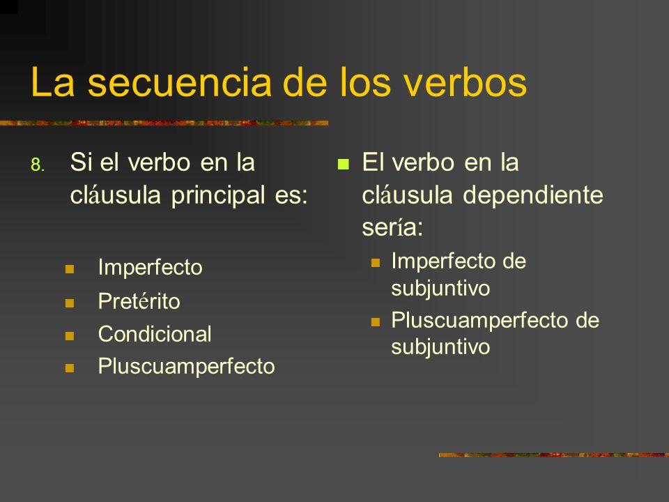 La secuencia de los verbos