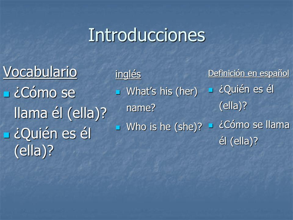 Introducciones Vocabulario ¿Cómo se llama él (ella)