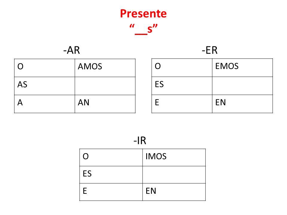 Presente __s -AR -ER -IR O AMOS AS A AN O EMOS ES E EN O IMOS ES E