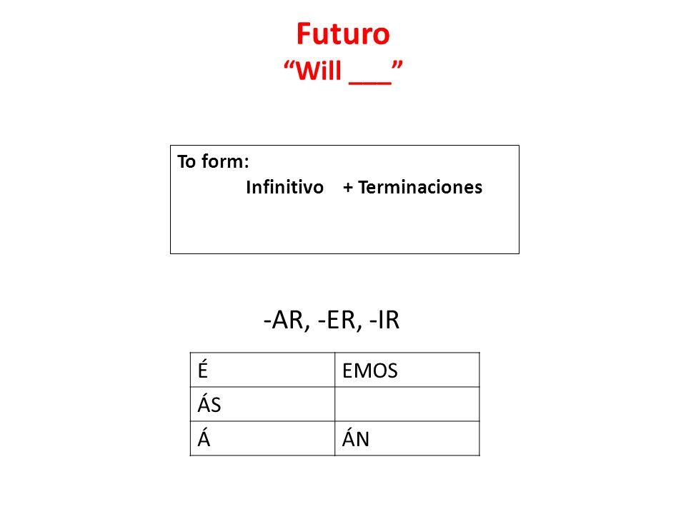 Futuro Will ___ -AR, -ER, -IR É EMOS ÁS Á ÁN To form: