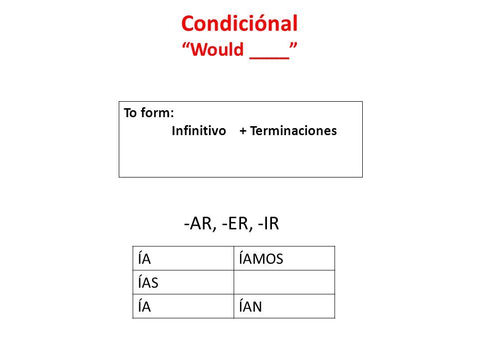 Condiciónal Would ____