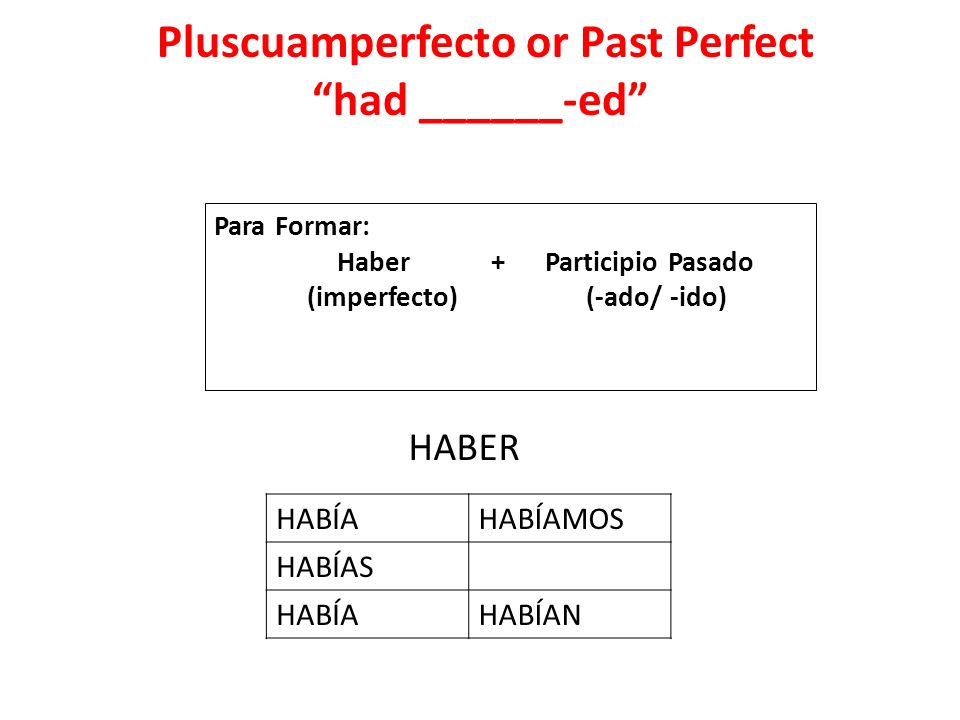 Pluscuamperfecto or Past Perfect had ______-ed
