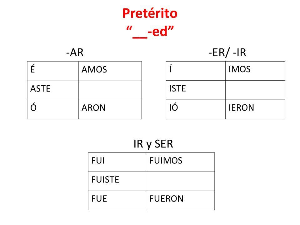 Pretérito __-ed -AR -ER/ -IR IR y SER É AMOS ASTE Ó ARON Í IMOS ISTE