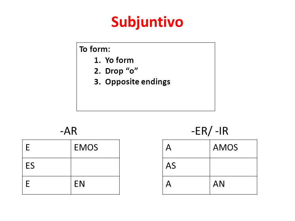 Subjuntivo -AR -ER/ -IR E EMOS ES EN A AMOS AS AN To form: 1. Yo form