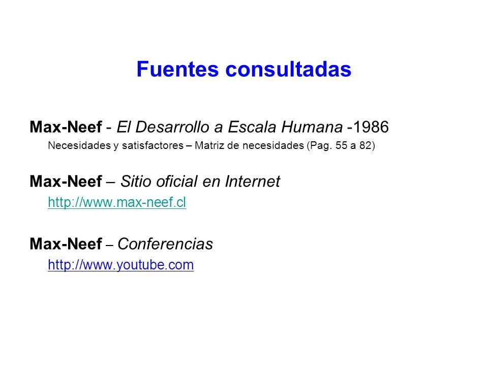Fuentes consultadas Max-Neef - El Desarrollo a Escala Humana -1986