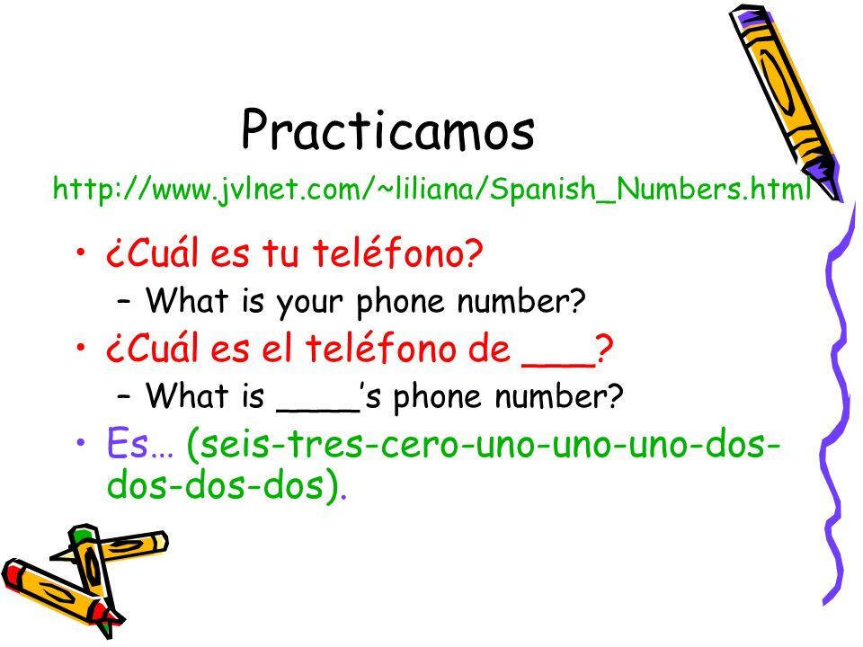 Practicamos ¿Cuál es tu teléfono ¿Cuál es el teléfono de ___