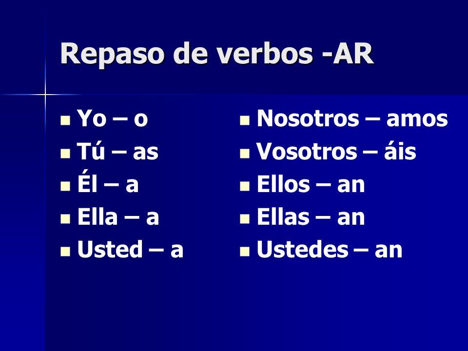 Repaso de verbos -AR Yo – o Tú – as Él – a Ella – a Usted – a