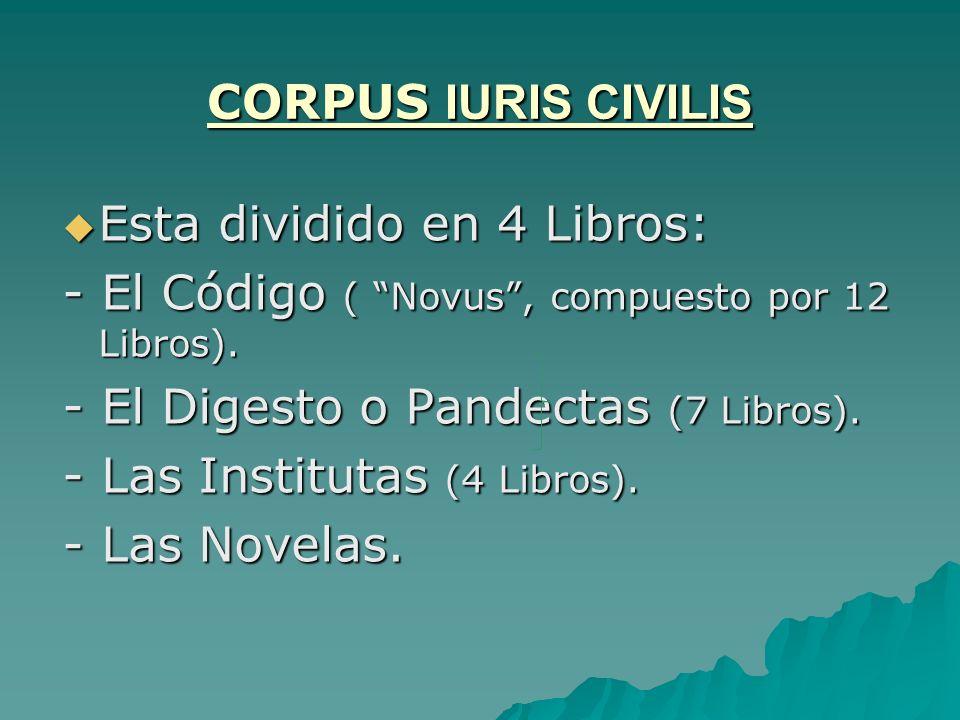 CORPUS IURIS CIVILIS Esta dividido en 4 Libros: - El Código ( Novus , compuesto por 12 Libros). - El Digesto o Pandectas (7 Libros).