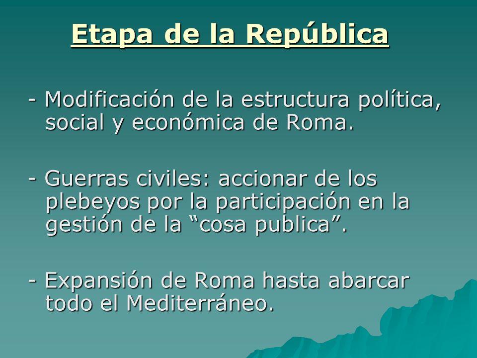 Etapa de la República - Modificación de la estructura política, social y económica de Roma.
