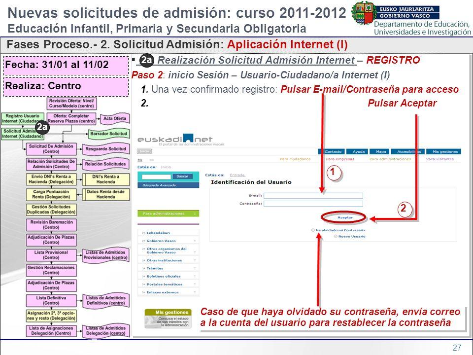 Nuevas solicitudes de admisión: curso 2011-2012