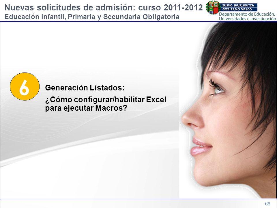 6 Nuevas solicitudes de admisión: curso 2011-2012 Generación Listados: