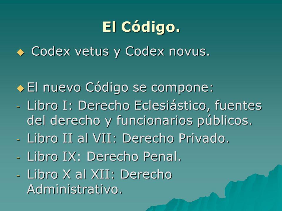 El Código. Codex vetus y Codex novus. El nuevo Código se compone: