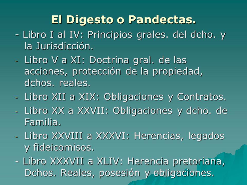 El Digesto o Pandectas.- Libro I al IV: Principios grales. del dcho. y la Jurisdicción.