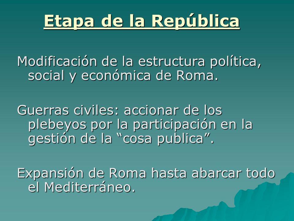Etapa de la RepúblicaModificación de la estructura política, social y económica de Roma.