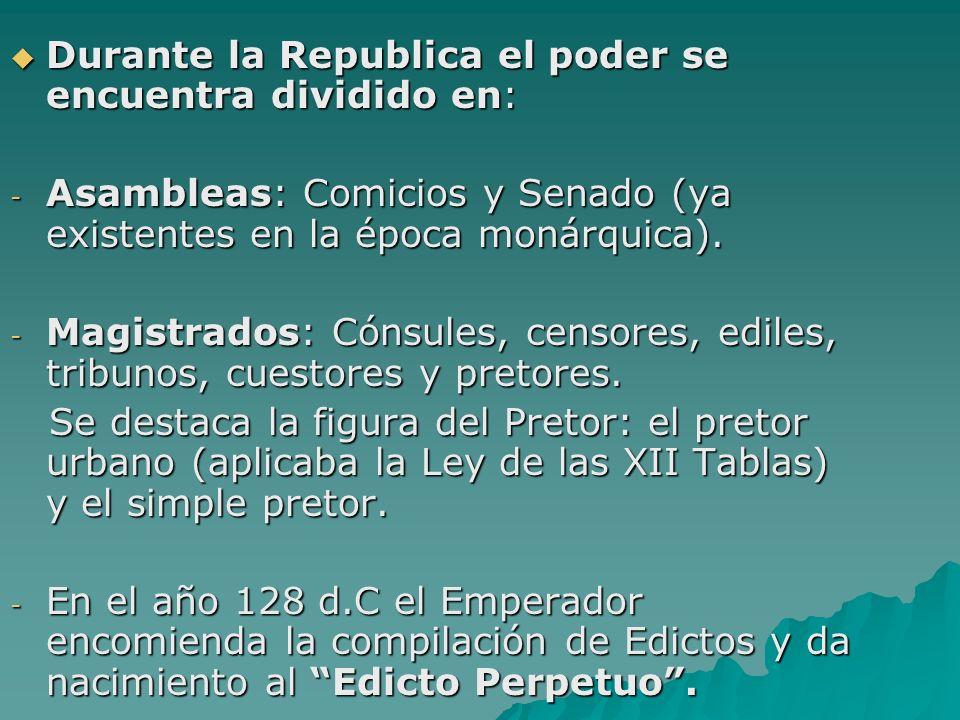 Durante la Republica el poder se encuentra dividido en:
