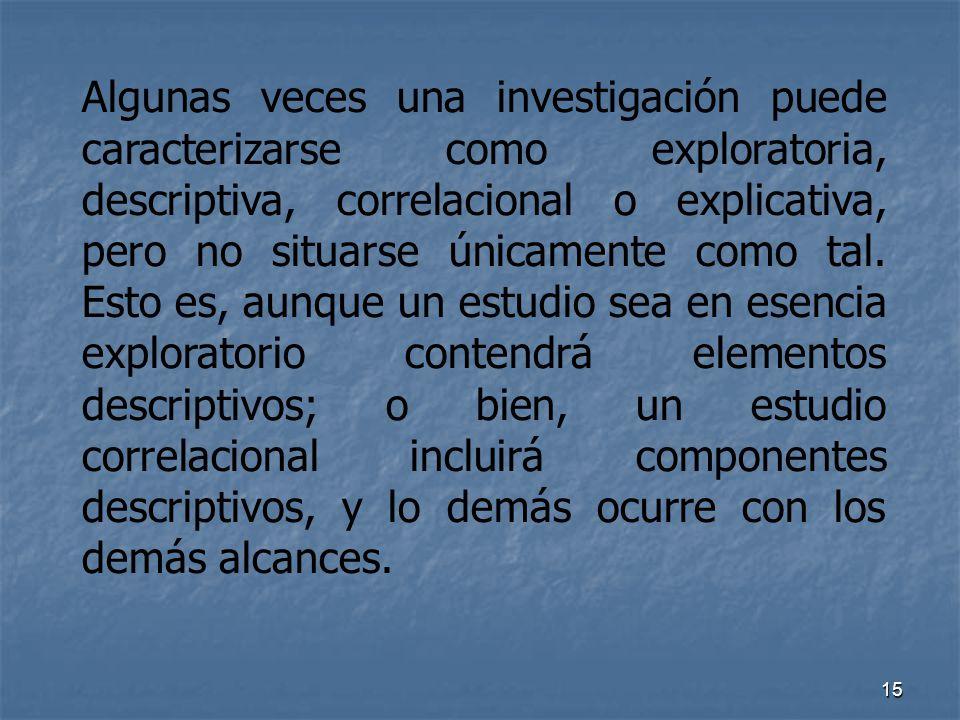 Algunas veces una investigación puede caracterizarse como exploratoria, descriptiva, correlacional o explicativa, pero no situarse únicamente como tal.