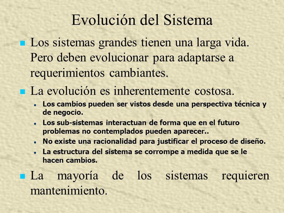Evolución del Sistema Los sistemas grandes tienen una larga vida. Pero deben evolucionar para adaptarse a requerimientos cambiantes.