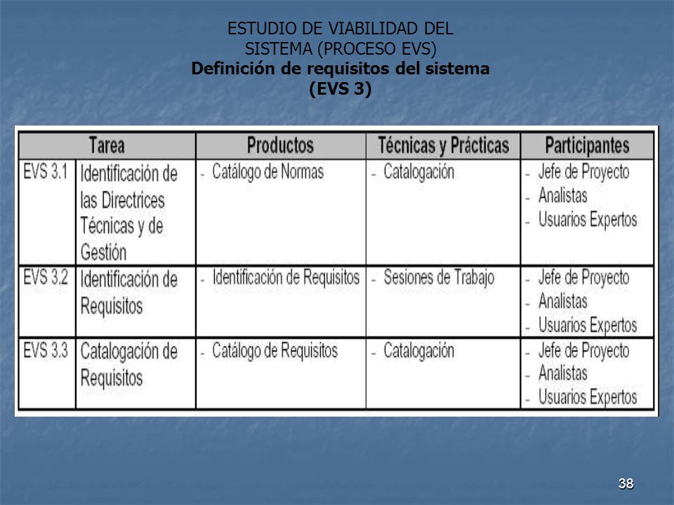 Definición de requisitos del sistema (EVS 3)