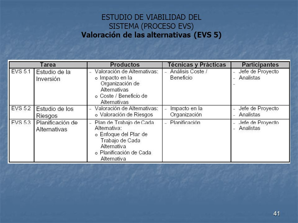 Valoración de las alternativas (EVS 5)