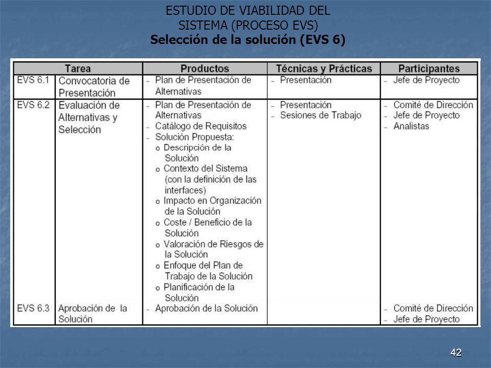 Selección de la solución (EVS 6)