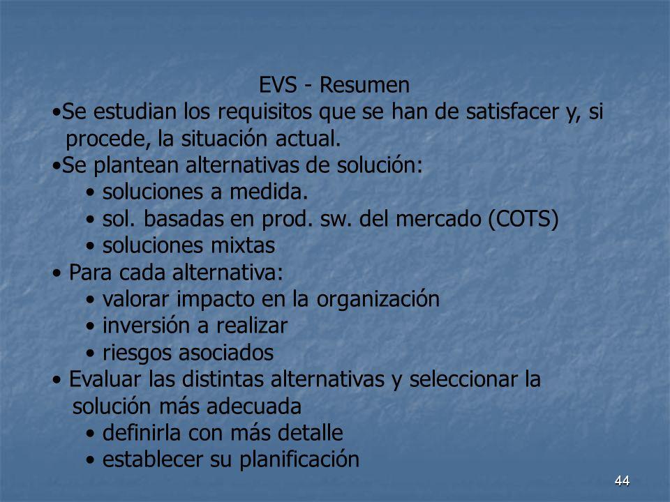 EVS - Resumen Se estudian los requisitos que se han de satisfacer y, si. procede, la situación actual.