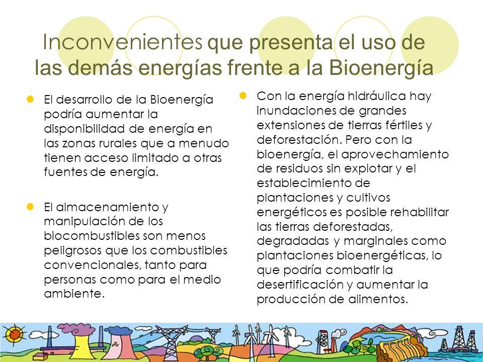 Inconvenientes que presenta el uso de las demás energías frente a la Bioenergía