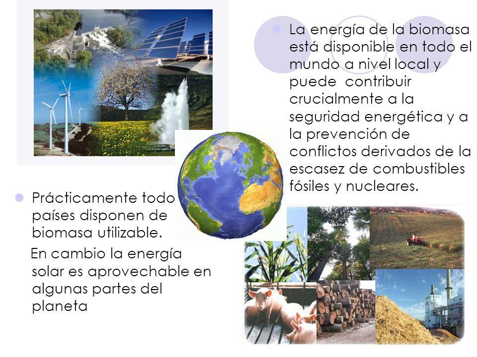 La energía de la biomasa está disponible en todo el mundo a nivel local y puede contribuir crucialmente a la seguridad energética y a la prevención de conflictos derivados de la escasez de combustibles fósiles y nucleares.